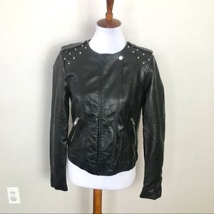Forever 21 black faux leather studded jackets Sm